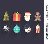 christmas theme flat icons | Shutterstock .eps vector #348135998