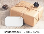 rustic gift box packed brown...   Shutterstock . vector #348137648