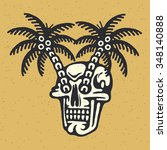 traditional tattoo flash skull... | Shutterstock .eps vector #348140888