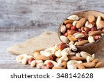 healthy mix nuts on wooden... | Shutterstock . vector #348142628