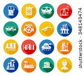 oil industry icons flat set... | Shutterstock .eps vector #348143474