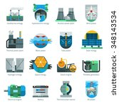 energy production flat icons... | Shutterstock .eps vector #348143534
