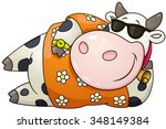 cartoon chubby bull. vector... | Shutterstock .eps vector #348149384