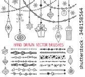 christmas hand drawn line... | Shutterstock .eps vector #348158564
