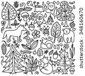 forest set. vector illustration ... | Shutterstock .eps vector #348160670