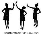 girl black silhouette taking... | Shutterstock .eps vector #348163754