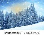 christmas snowing firtree... | Shutterstock . vector #348164978