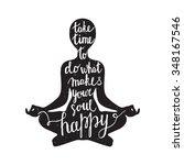 meditation black silhouette... | Shutterstock .eps vector #348167546