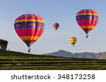 Hot Air Balloon Over The Field...