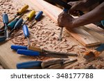 door craftsmen in zanzibar... | Shutterstock . vector #348177788