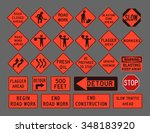 workers road signs | Shutterstock .eps vector #348183920