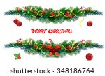 bow borders fir tree branches... | Shutterstock .eps vector #348186764