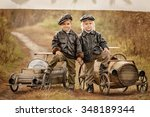 three little boys racers...   Shutterstock . vector #348189344