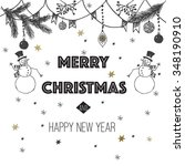 merry christmas and happy new... | Shutterstock .eps vector #348190910