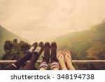 friends legs outdoor on...   Shutterstock . vector #348194738