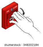 fire alarm switch.break glass... | Shutterstock .eps vector #348202184
