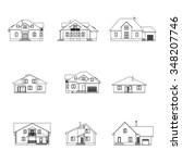 set of houses with attics... | Shutterstock .eps vector #348207746