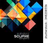 glossy color squares on black.... | Shutterstock .eps vector #348208556