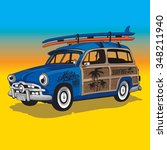 surf car illustration ... | Shutterstock .eps vector #348211940
