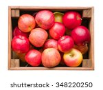 Red Apples In Wooden Box On...