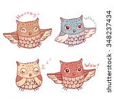 set of four cute cartoon owls... | Shutterstock .eps vector #348237434