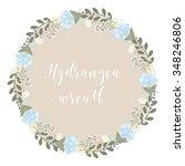 hydrangea flower wreath   frame | Shutterstock .eps vector #348246806