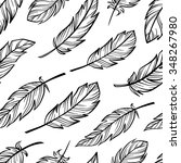vector hand drown feathers... | Shutterstock .eps vector #348267980