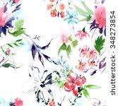 summertime garden flowers... | Shutterstock . vector #348273854