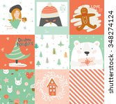 collection of 9 christmas gift... | Shutterstock .eps vector #348274124