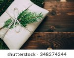 wrapped gift with fur tree...   Shutterstock . vector #348274244
