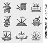 vector set of cannabis emblem ... | Shutterstock .eps vector #348274760