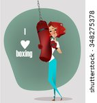 cartoon girl with punching bag | Shutterstock .eps vector #348275378