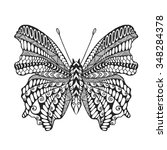 zentangle stylized butterfly.... | Shutterstock .eps vector #348284378