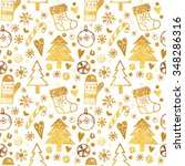 christmas pattern with gold...