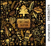 set christmas items in gold and ... | Shutterstock .eps vector #348286574