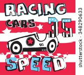 racing car on striped... | Shutterstock .eps vector #348290633