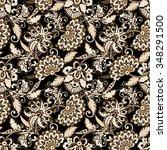 ethnic flowers seamless vector...   Shutterstock .eps vector #348291500
