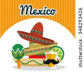 mexico concept with landmarks... | Shutterstock .eps vector #348293426