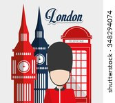 london concept with landmarks... | Shutterstock .eps vector #348294074
