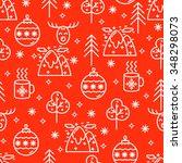 christmas flat line design... | Shutterstock .eps vector #348298073