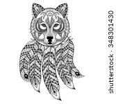 vector ornamental wolf with...   Shutterstock .eps vector #348301430