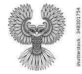 vector ornamental owl  ethnic...   Shutterstock .eps vector #348301754