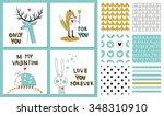 set of 9 seamless vector... | Shutterstock .eps vector #348310910