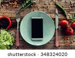 call for delivery. top view of... | Shutterstock . vector #348324020