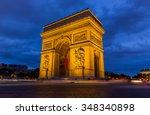 paris arc de triomphe at night...   Shutterstock . vector #348340898