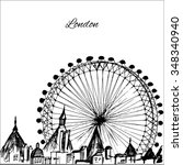 hand drawn london city with... | Shutterstock .eps vector #348340940