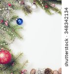 christmas frame with christmas... | Shutterstock . vector #348342134