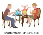 big family together happy... | Shutterstock .eps vector #348343418