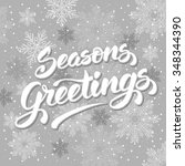 seasons greetings. vintage card ... | Shutterstock .eps vector #348344390