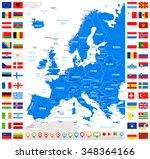 map and flags of europe   full... | Shutterstock .eps vector #348364166